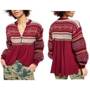 Free People Red Knit Cozy Cottage Sweater Tunic